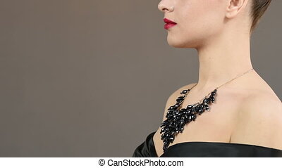 necklace on the neck. jewelry concept