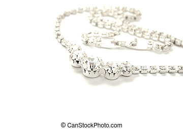 Necklace with stones isolated on white background.