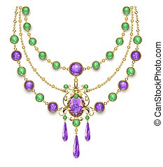 Necklace with amethyst - Necklace decorated with amethysts ...