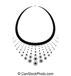 Necklace with diamond icon in black style isolated on white background. Jewelry and accessories symbol stock vector illustration.