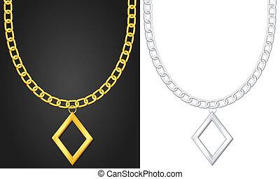 necklace with diamond symbol