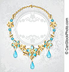necklace with gold flowers
