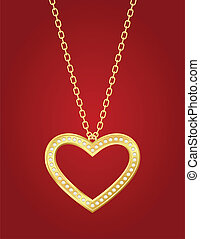 golden heart - Necklace with golden heart and brilliants on...