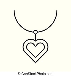 necklace with heart pendant, outline vector icon