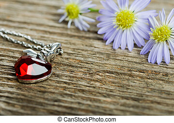 Necklace with heart shaped locket
