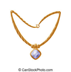 Necklace with Huge Gemstone, Golden Female Accessory
