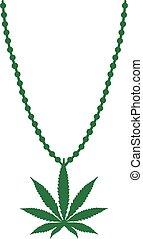 Necklace with Marijuana leaf