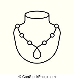 necklace with pendant, jewelry related, outline icon