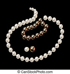 Necklace with pink and black pearls and stars romantic