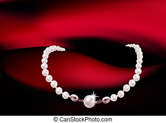 Necklace with pink and white pearls and stars romantic