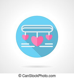 Necklace with pink hearts flat round vector icon