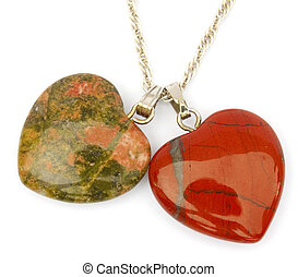Necklace with red jasper and unakite, semiprecous gems with magical properties