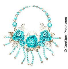 Necklace with turquoise roses