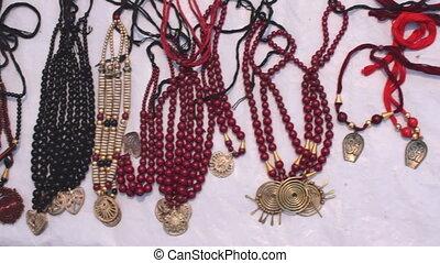 Necklaces, handicraft items on display , Kolkata -...