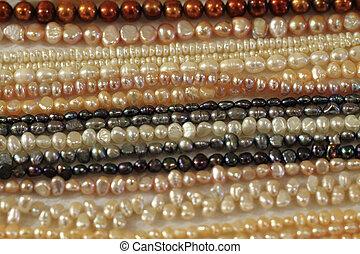 necklate, textura, perls