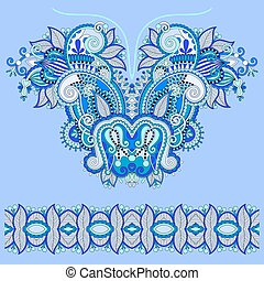 Neckline blue ornate floral paisley embroidery fashion...