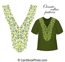 Neckline embroidery. Beautiful fashionable collar embroidered in the technique of cross-stitch - stock vector.