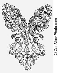 Neckline embroidery fashion on light gray background