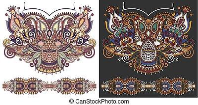 neckline embroidery fashion design to print on fabric,...