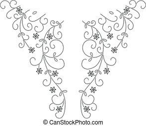 neckline, ontwerp, mode, henna