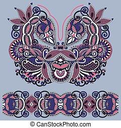 Neckline ornate floral paisley embroidery fashion design,...