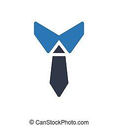 necktie glyph color icon