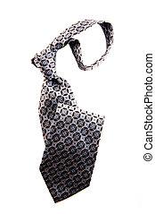 Necktie - Gray, black and blue business necktie over white...