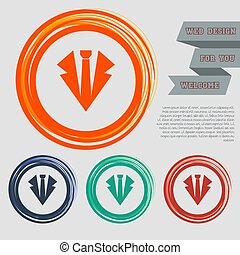 Necktie icon on the red, blue, green, orange buttons for your website and design with space text. Vector