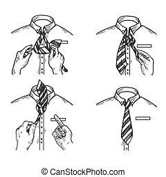 Necktie instructions engraving vector illustration. Scratch...