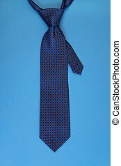 Necktie on blue background