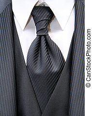 necktie - Beautiful black necktie with suite of a bridegroom...