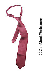 Necktie - Red silk necktie on white