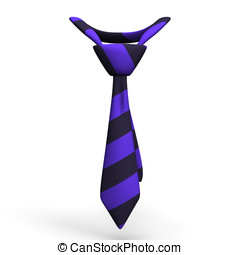 Necktie.3D render illustration. Isolated on White.