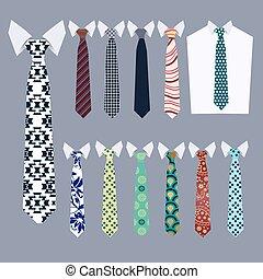 neckties, banden, vector, mode, verzameling