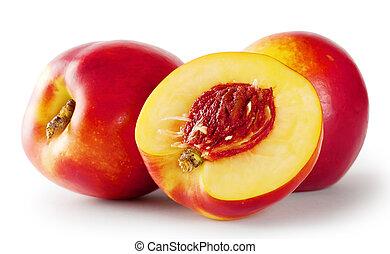 nectarinas, jugoso, maduro