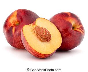 Nectarine fruit isolated on white background close up -...