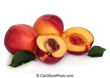 Nectarine Fruit - Nectarine fruit whole and in halves with...
