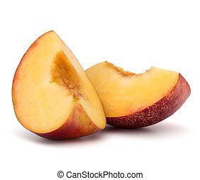 Nectarine fruit slice isolated on white background close up...