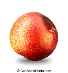 Nectarine peach isolated on white, clipping path - Ripe...