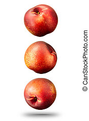 Nectarines peach isolated on white, clipping path - Falling...