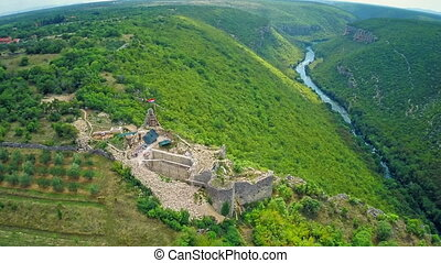 Necven fortress and Krka river, aerial - Copter aerial view...