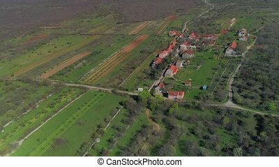 Necven little village, aerial - Copter aerial view of the...