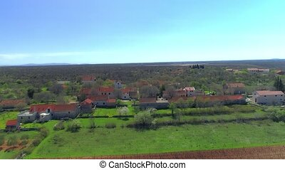 Necven little village, aerial - Drone aerial view of the...