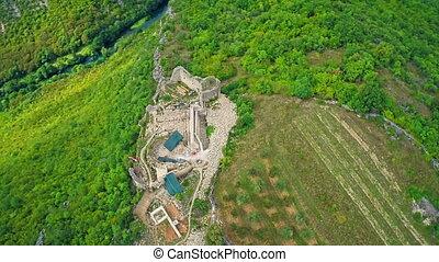 Necven medieval fortress, aerial