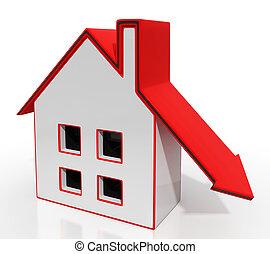 nedåt, hus, recession, pil, egenskap, visar
