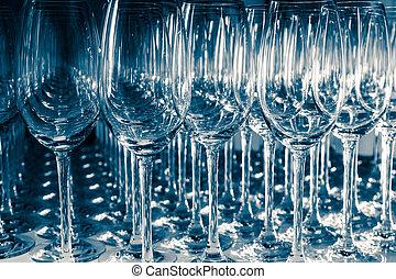 nedåt, många, upside, tom, wineglasses