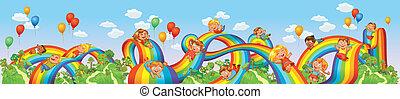 nedåt, regnbåge, glida, barn