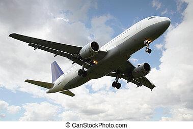 nedanför, landstigning, jet, synhåll