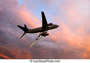 nedanför, synhåll, jet, skymning