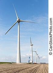 nederländerna, arbete, windfarm, konstruktion, åkerjord,...